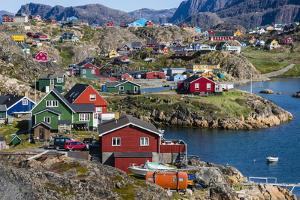 View of the Brightly Colored Houses in Sisimiut, Greenland, Polar Regions by Michael Nolan