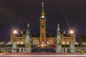 Parliament Hill and the Capital Parliament Building, Ottawa, Ontario, Canada, North America by Michael
