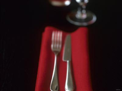 Knife and Fork on Red Napkin by Michael Paul