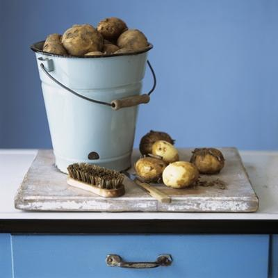 Organic Potatoes in Bucket and on Chopping Board; Brush; Knife by Michael Paul