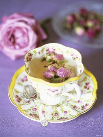 Tea with Rosebuds in Romantic Cup by Michael Paul