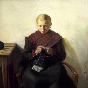 A Young Girl Knitting, Maren Brens, 1887 by Michael Peter Ancher