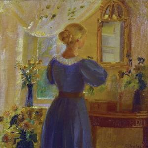 An Interior with a Woman Looking in a Mirror, 1900 by Michael Peter Ancher