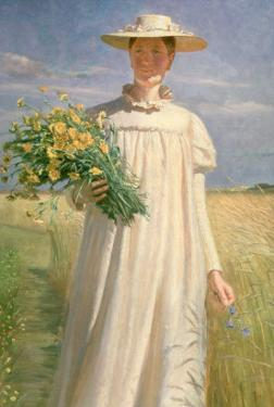Anna Ancher Returning from Flower Picking, 1902 by Michael Peter Ancher