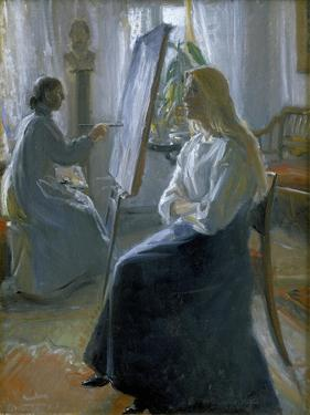 In the Studio, Anna Ancher, the Artist's Wife Painting by Michael Peter Ancher