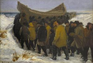 Launching the Fishing Boat by Michael Peter Ancher