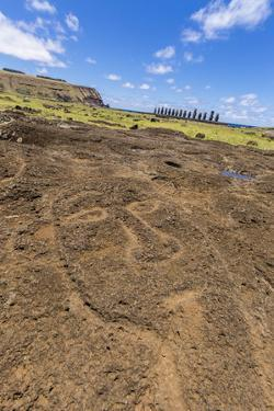 Petroglyphs Carved in the Lava at the 15 Moai Restored Ceremonial Site of Ahu Tongariki by Michael