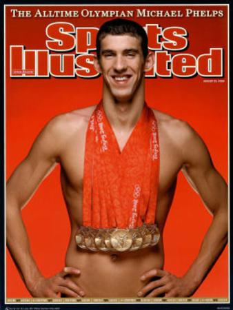 Michael Phelps Sports Illustrated Cover with 8 Gold Medals Sports