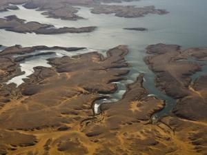 Aerial View of the Coast of Lake Nasser and Sky Reflections by Michael Polzia