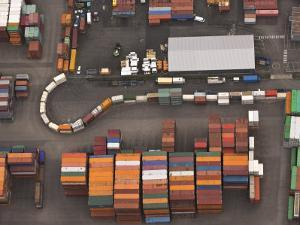 Aerial View of the Hamburg Harbor Container Terminal by Michael Polzia