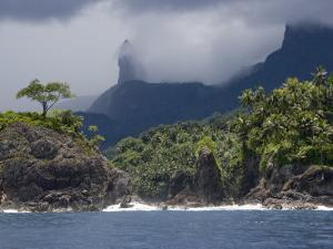 Volcanic Mountains and Palm Trees Along the Shore of Principe Island by Michael Polzia