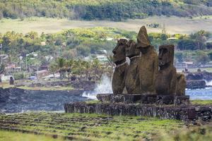 Preserved Original Moai in the Tahai Archaeological Zone by Michael