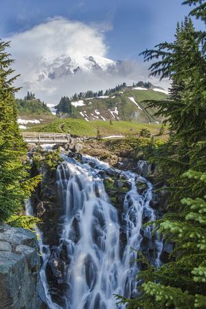 Braided Myrtle Falls and Mt Rainier, Skyline Trail, NP, Washington
