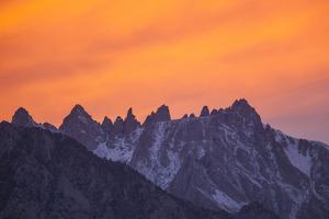 Glowing Orange Clouds at Sunset over the Sierra Crest by Michael Qualls