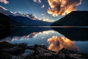 Sunset at Lake Crescent, Olympic National Park by Michael Riffle