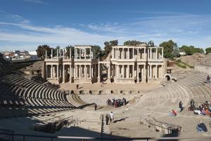 Roman Theater, Merida, UNESCO World Heritage Site, Badajoz, Extremadura, Spain, Europe by Michael
