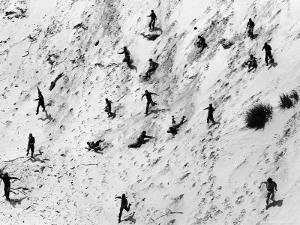 Boy Scouts Racing Down a Dune at the Indiana Dunes by Michael Rougier