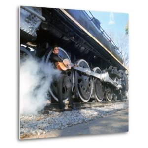 Country/Western Singer Johnny Cash W. Guitar by Wheels of a Steam Train by Michael Rougier