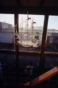 Glass Suncatcher, in the Form of a Three-Masted Ship, in Floating Home, Sausalito, CA, 1971 by Michael Rougier
