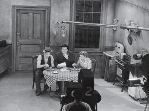"""Jackie Gleason, Art Carney and Audrey Meadows in Cramden Apartment, Eating, on """"The Honeymooners"""" by Michael Rougier"""
