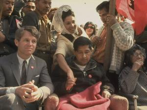 Robert F. Kennedy Sitting Next to Cesar Chavez During Rally for the United Farm Workers Union by Michael Rougier