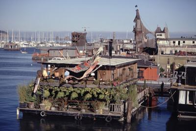 Two-Story Floating Home Covered in Hanging and Potted Plants, Sausalito, CA, 1971