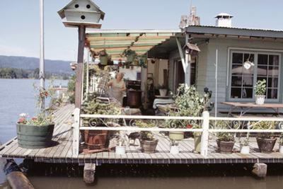 Women Standing Amidst Potted Plants on Floating Home Deck in Portage Bay, Seattle, Wa, 1971