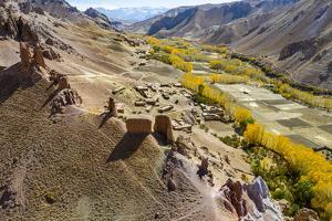 Aerial by drone of Gohargeen fort, Yakawlang province, Bamyan, Afghanistan by Michael Runkel