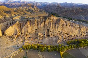 Aerial by drone of the site of the great Buddhas in Bamyan (Bamiyan), taken in 2019, Afghanistan by Michael Runkel