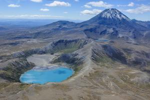 Aerial of the Blue Lake before Mount Ngauruhoe, Tongariro National Park, North Island by Michael Runkel