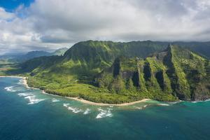 Aerial of the Napali Coast, Kauai, Hawaii, United States of America, Pacific by Michael Runkel