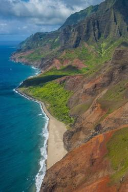 Aerial of the Rugged Napali Coast, Kauai, Hawaii, United States of America, Pacific by Michael Runkel