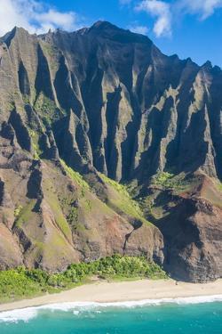 Aerial of the Rugged Napali Coast, Kauai, Hawaii, United States of America, Pacific by Michael Runkel