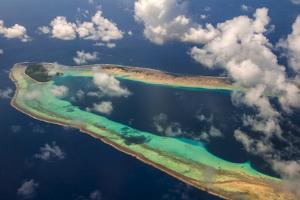 Aerial of the Very Beautiful Ant Atoll, Pohnpei, Micronesia, Pacific by Michael Runkel