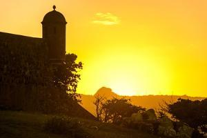 Backlit Watchtower of the Fortress of Fortaleza San Felipe, Puerto Plata, Dominican Republic by Michael Runkel