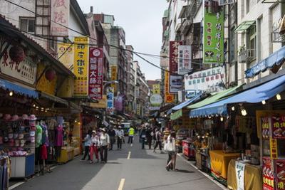 Business Street in Danshui, Suburb of Taipei, Taiwan, Asia by Michael Runkel