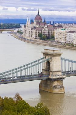 Chain Bridge across the Danube, Budapest, Hungary, Europe by Michael Runkel