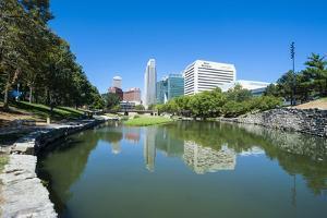 City Park Lagoon with Downtown Omaha, Nebraska, Usa by Michael Runkel