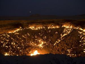 Darvaza Gas Crater in the Karakol Desert, Turkmenistan, Central Asia, Asia by Michael Runkel