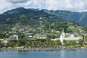 Dramatic mountains looming behind Papeete, Tahiti, Society Islands, French Polynesia, Pacific by Michael Runkel