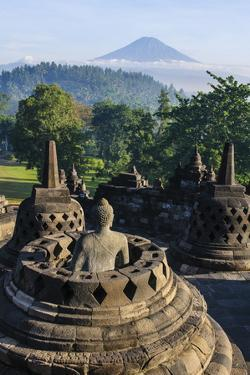 Early Morning Light at the Stupas of the Temple Complex of Borobodur, Java, Indonesia by Michael Runkel