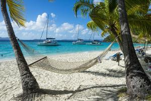 Hammock hanging on famous White Bay, Jost Van Dyke, British Virgin Islands, West Indies, Caribbean, by Michael Runkel