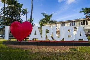 I Love Aruba Sign in Downtown Oranjestad, Capital of Aruba, ABC Islands, Netherlands Antilles by Michael Runkel