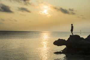 Man on a rock in backlight on the rocky west coast in Ouvea, Loyalty Islands, New Caledonia, Pacifi by Michael Runkel