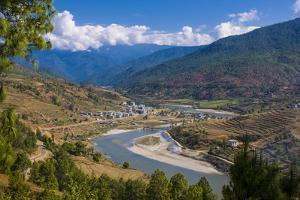 Mo Chhu and Pho Chhu River Through Punakha, Bhutan by Michael Runkel