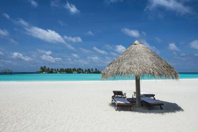 Parasol on a white sand beach and turquoise water, Sun Island Resort, Nalaguraidhoo island, Ari ato by Michael Runkel