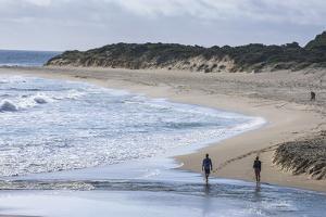 People Walking on a Beach Near Margaret River, Western Australia, Australia, Pacific by Michael Runkel