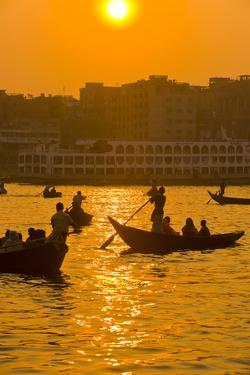 Rowing Boats in the Busy Harbor of Dhaka in the Setting Sun, Bangladesh, Asia by Michael Runkel