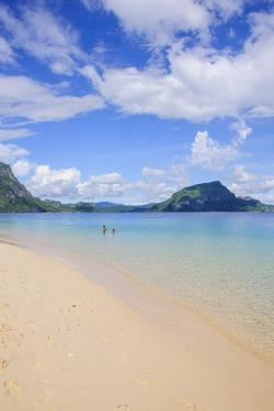 Sandy Beach and Clear Waters in the Bacuit Archipelago, Palawan, Philippines, Southeast Asia, Asia by Michael Runkel