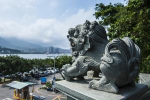 Stone Lion Overseeing the Danshui River from the Guandu Temple, Guandu, Taipei, Taiwan, Asia by Michael Runkel